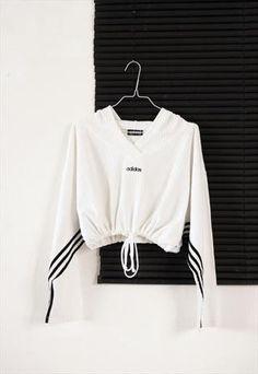 white 90's adidas crop sport sweatshirt from HOMEGIRL