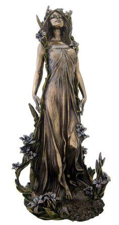 Lily Alphonse Mucha Flowers Series Art Nouveau Lady Statue Figure