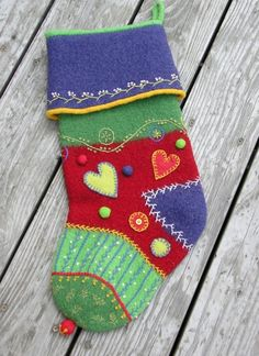 Crazy Quilt Holiday Stocking  ~ use upcycled sweaters and felt