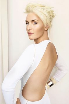 Kate Winslet @Vogue, luv'n this look and platinum short hair