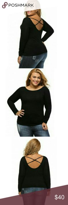 [Plus: 1X•2X] Long Sleeve Criss-Cross Top 95% poly 5% spandex. Long sleeve. Boutique Tops Blouses