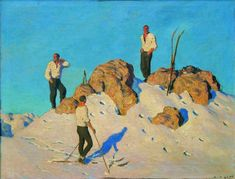 "Alfons Walde (Austrian, ""Gipfelrast am Pengelstein"" 1928 Figure Painting, Painting & Drawing, Bauhaus Art, Mountain Pictures, Kunst Online, Ski Posters, Sculpture Painting, Vintage Ski, Grafik Design"