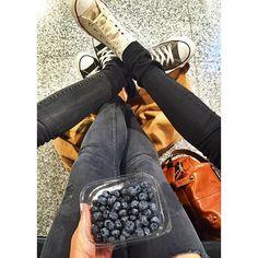 """#chucksclique ✌️ Off to Berlin ✈️ #Berlin #duesseldorf #düsseldorf #airport #flight #dus #lufthansa #flying #weekendtrip #girl #friends #friendship #blueberries #chucks #sneakers #longchamp"" Photo taken by @julialaurax on Instagram, pinned via the InstaPin iOS App! http://www.instapinapp.com (08/13/2015)"