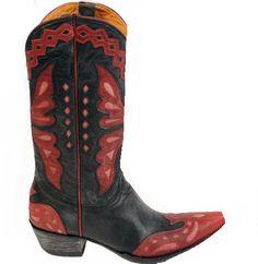 Amazon.com: Old Gringo Women's L-026-44 Monarca Vesuvio Black/Red/Pink Cowboy Boot: Shoes