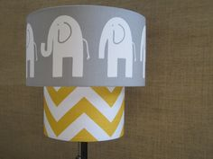 Lamp Shade Elephant Chevron Zig Zag Drum Lampshade 2 Tier in Mustard Yellow and Gray Grey