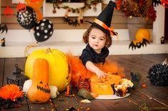 Halloween cakesmash little hellcat in a witch hat orange pumpkin decorations decor black autumn theme cake crush smash smashcake girl one year holiday baloons scary