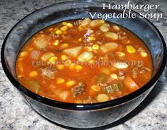 Vegetable soup: I used beef broth. Also used diced tomatoes with basil. Added a little more basil and parsley.