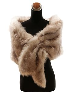 Deluxe Champagne Fur Wedding Shawl For Brides - Wedding Shawls - Accessories