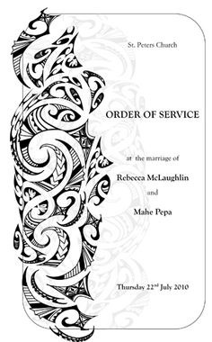 Tongan tribal design for order of service