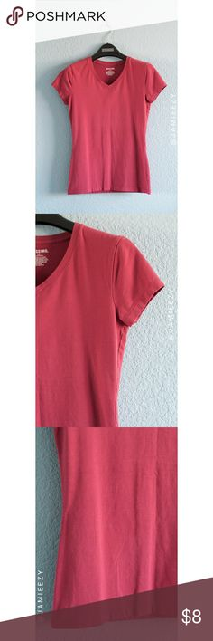 Mossimo | Relaxed V-Neck Tee Muted red/dusty rose relaxed v-neck tee from Mossimo. Cap sleeves. Excellent condition. Size X-Small, true to size. Price is firm. No trades. Bundle for discount. Mossimo Supply Co. Tops Tees - Short Sleeve