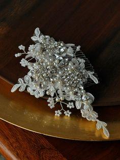 Ivory Bridal Lace Headpiece Crystal Wedding by GildedShadows