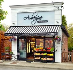 Aubergine Specialty Food shop in Victoria, British Columbia. awning underlines emphasises the the shop sign