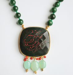 ALANGOO-Handmade Persian Calligraphy Necklace, jade