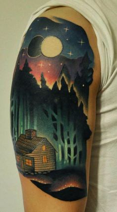 This tattoo by Marcin Aleksander Surowiec makes us want to kick back and watch Cabin in the Woods and Dead Alive.
