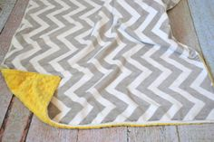 Gray Chevron and Yellow Blanket  Ultra Soft by satinstitchdesigns