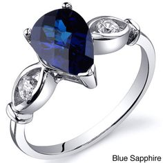 Oravo Sterling Silver Pear-cut Gemstone and Cubic Zirconia Ring - Overstock™ Shopping - Top Rated Oravo Gemstone Rings