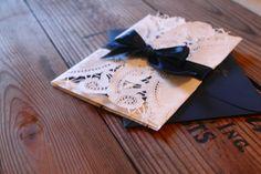 vintage lace invitations    www.pearlygatesdesigns.com
