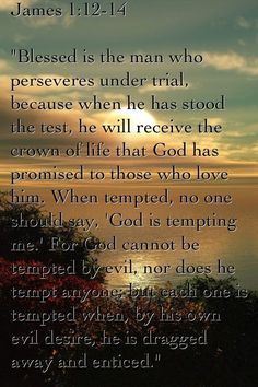 """Blessed is the man who endures temptation; for when he has been approved, he will receive the crown of life which the Lord has promised to those who love Him. Let no one say when he is tempted, """"I am tempted by God""""; for God cannot be tempted by evil, nor does He Himself tempt anyone. But each one is tempted when he is drawn away by his own desires and enticed. [James 1:12-14]"""