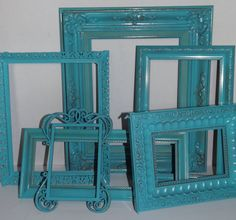 HD 15 Painted Shabby Chic/ Nautical Turquoise Blue 6 Piece Frame Grouping