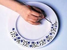 Fine Porcelain China Diane Japan Value Dot Art Painting, China Painting, Pottery Painting, Ceramic Painting, Hand Painted Plates, Hand Painted Ceramics, Glass Ceramic, Ceramic Art, Blue Pottery