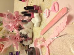Color me pink its a girl!! I created these gifts for baby shower game winners for my best friends baby shower -- different shades of pink nail polish, cotton balls & pink nail file in a gift sack just add a pink bow!!