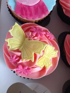 Butterfly and Flower cupcake