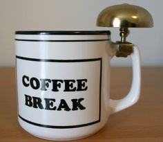 Coffee Break Mug with Brass Bell by TheArtofSalvage on Etsy