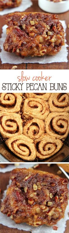 Skinny Slow Cooker Sticky Pecan Buns -- barely 150 calories & they don't taste healthy at all! This is the ONLY recipe I ever use! Crock Pot Slow Cooker, Crock Pot Cooking, Crock Pot Desserts, Slow Cooker Desserts, Fall Desserts, Healthy Desserts, Breakfast Recipes, Slow Cooker Breakfast, Dessert Recipes