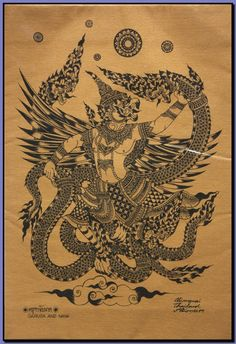 Thai traditional art of Garuda And Naga by silkscreen printing on cotton // Yoga Shala // Massage Therapy Room // Interior Decor // Interior Style // Natural // Rustic // Bohemian // Ethical Design // Ethnic Inspired ❤︎ Muay Thai Tattoo, Khmer Tattoo, Cambodian Tattoo, Muay Boran, Traditional Thai Tattoo, Traditional Art, Sak Yant Tattoo, Tattoo Ink, Thailand