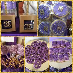 Purple treats at a CoCo Chanel birthday party! See more party planning ideas at CatchMyParty.com!