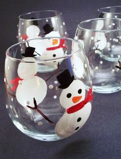 Holiday Christmas snowman handpainted wine glasses, falling snow painted wine glassware