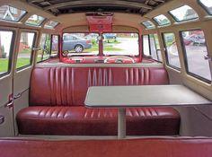 Shabba red bench seat interior in split screen van