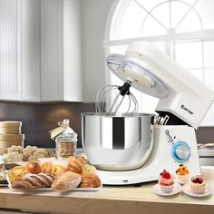 This is stylish food stand mixer which is great for your kitchen. It comes with dough hook, beater, whisk and Qt stainless steel bowl. Powerful 660 watt motor and variable speeds guarantee freshness and smoothness of food, an Blender Food Processor, Food Processor Recipes, Kitchen Aid Mixer Attachments, Electric Foods, Stainless Steel Bowl, Stand Mixer, Mixing Bowls, Tilt, Kitchen Appliances