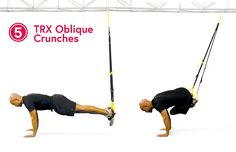 TRX Oblique Crunches: these crunches require you to engage not only your main abdominal muscles but also the small stabilizing muscles in your core. Trx Ab Workout, Trx Abs, Lose Fat Workout, Toning Workouts, Strength Workout, Fun Workouts, Workout Plans, Trx Training, Love Handle Workout