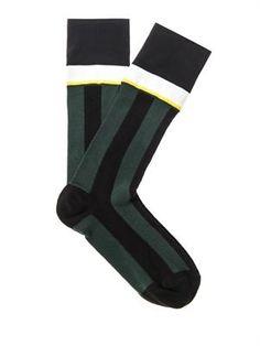 Fine-knit stripe socks