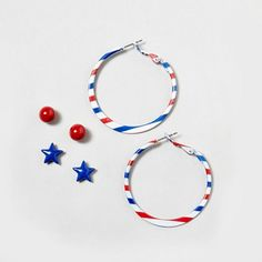 Mix & match with these 3 pairs of 4th of July Stud & Hoop Earrings $7.50