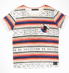 B-side VIVID STRIPE TEE BLUE/SALMON £30.00