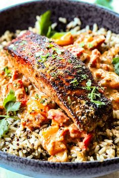 Blackened Salmon in Creamy Cajun Sauce - Carlsbad Cravings Salmon Recipe Pan, Baked Salmon Recipes, Fish Recipes, Seafood Recipes, Vegetarian Recipes, Dinner Recipes, Cooking Recipes, Healthy Recipes, Recipies