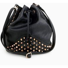 Studded Bucket Bag ($60) ❤ liked on Polyvore featuring bags, handbags, shoulder bags, bolsas, accessories, purses, black, black shoulder bag, bucket handbags and shoulder strap bag