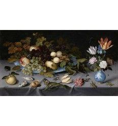 Balthasar van der Ast, né à Middelbourg en 1593 ou 1594 et mort à Delft en décembre 1657,   Nature morte avec fruits et fleurs