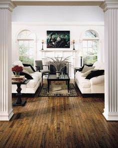 office interior We discovered beautiful oak floors under our current flooring in the house.we hope Living Room Furniture Arrangement, House, Home, Hardwood Floors, New Homes, Oak Hardwood Flooring, Oak Floors, Flooring, Home And Living
