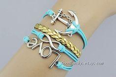 Golden leather braceletLove braceletinfinity by goodlucky on Etsy, $9.99