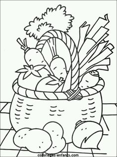 Free for personal use Fruits Basket Drawing of your choice Vegetable Coloring Pages, Fruit Coloring Pages, Colouring Pages, Printable Coloring Pages, Coloring Books, Fruits And Vegetables Pictures, Vegetable Pictures, Coloring Pages For Kids, Adult Coloring