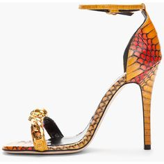 ALEXANDER MCQUEEN Burnt Yellow & Red Cobraskin Heeled Sandals ($1,540) ❤ liked on Polyvore