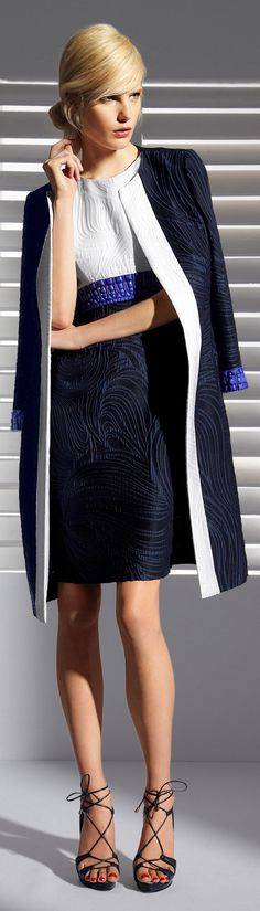 ☼Escada 2013 ~ blue black and white outfits are my favorite