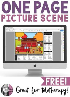 FREE activity for mixed speech and language groups that's teletherapy friendly! This GO-TO resource is NO PRINT, yet is engaging and versatile! The fire station picture scene comes in both COLOR and BLACK/WHITE versions, with goal targets right on the page!