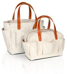a heavy canvas tote and mechanic's bag for carrying around just about anything