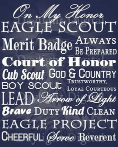 Need a quick gift for an Eagle Scout? Or a centerpiece for your table celebration? This subway art captures the essence of being an Eagle Scout