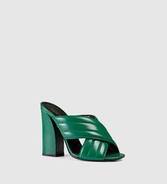metallic crossover sandal #gucci #emerald