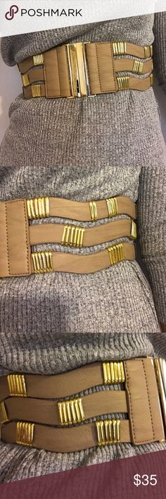 """Brown and Gold Bebe Belt In mint condition!!! Recommend anyone who is a size 25/26. Super stylish for a dress up occasion. 26.5"""" L and  3 """" W. Send a reasonable offer please. bebe Accessories Belts"""